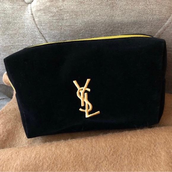 5469031f0682 AUTHENTIC NWT YVES YSL Black Velvet Makeup Bag VIP